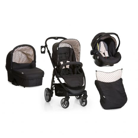 NEW Hauck Lacrosse 3in1 Travel System Pushchair Pram+Carseat+Carrycot dots Black